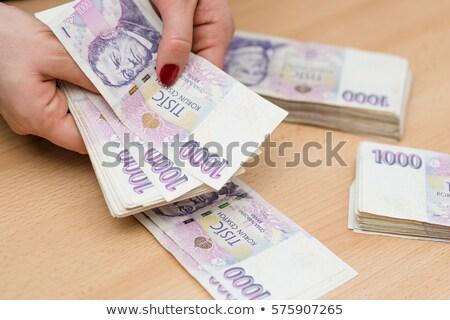 businessman counting czech korunas banknotes Stock photo © nito