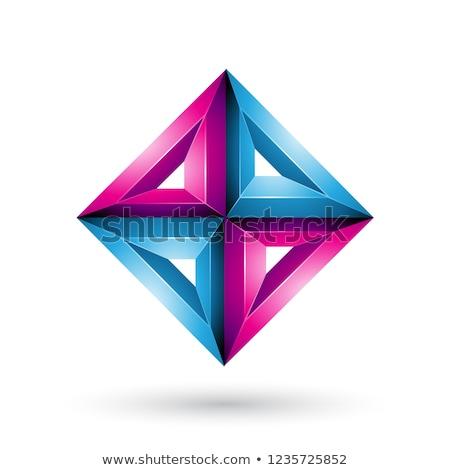 Azul magenta 3D geométrico diamante forma Foto stock © cidepix