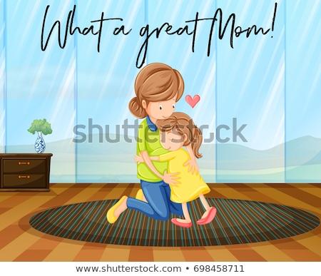 Anya lánygyermek ölel kifejezés mi nagyszerű Stock fotó © colematt