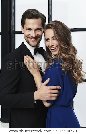 retrato · alegre · casal · em · pé · isolado · branco - foto stock © deandrobot