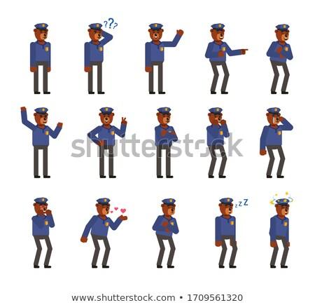 Cartoon zły komisarz ponosi patrząc Zdjęcia stock © cthoman