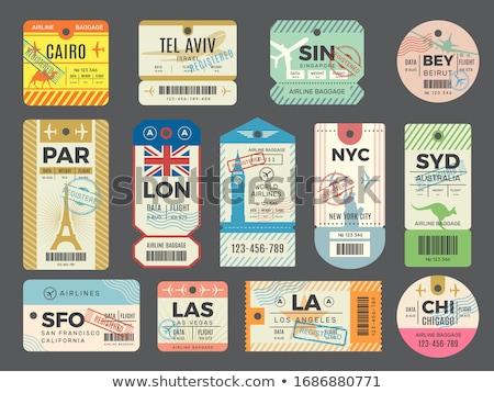 útlevél · bélyegek · utazás · ikonok · keret · felirat - stock fotó © decorwithme