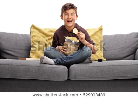 少年 食べ チップ ソファ 実例 犬 ストックフォト © colematt