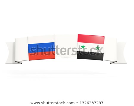 Stock photo: Banner with two square flags of Russia and syria