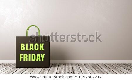 Boodschappentas black friday tekst een zwarte Stockfoto © make