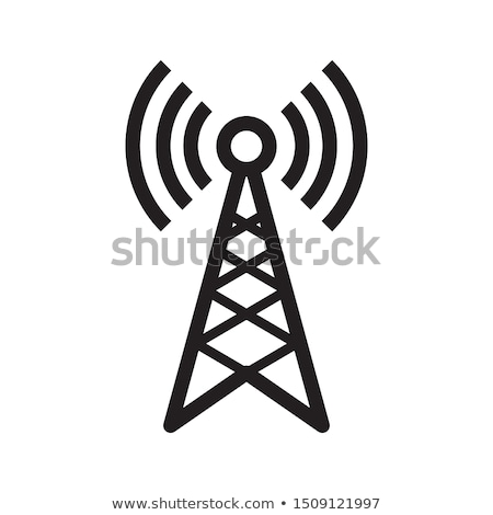 mobil · műsorszórás · antenna · ikon · feketefehér · üzlet - stock fotó © angelp