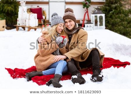Thee koffiemok sneeuw dranken christmas winter Stockfoto © dolgachov