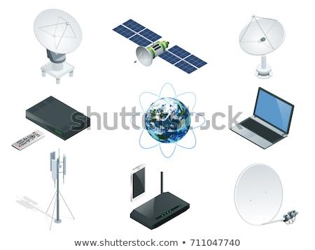 vector set of satellite and satellite dish Zdjęcia stock © olllikeballoon