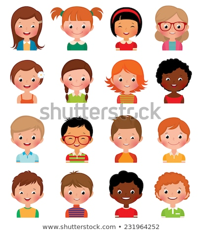 Children Girls with Face Expressions Isolated Set Stock photo © robuart