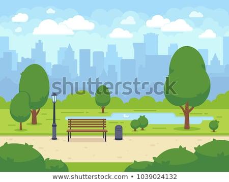 Stad park man bank vrouw hond Stockfoto © Genestro