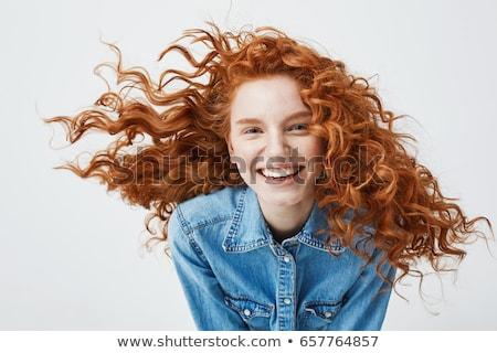 portré · boldog · fiatal · lány · göndör · haj · elvesz · mobiltelefon - stock fotó © deandrobot