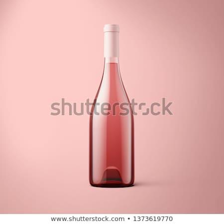 Rózsa borosüveg szőlő fa asztal felső kilátás Stock fotó © karandaev