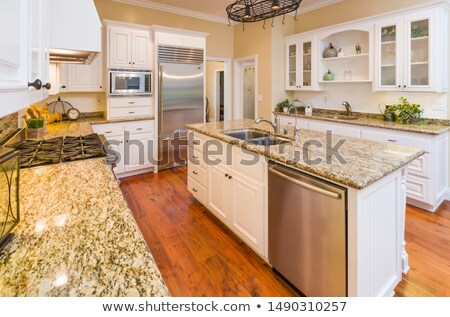 Beautiful Custom Kitchen Interior With Hard Wood Floors Stock photo © feverpitch