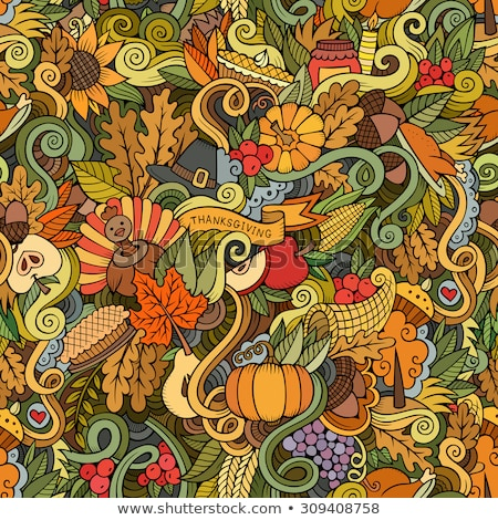 Foto stock: Cartoon Hand Drawn Doodles On The Subject Of Thanksgiving