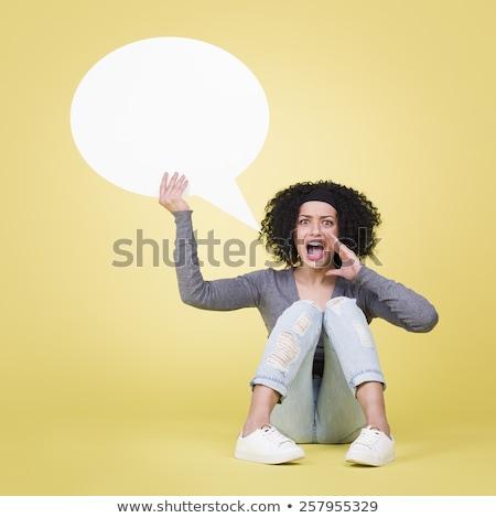 Zaklatott lány tart fehér szöveglufi copy space Stock fotó © lichtmeister