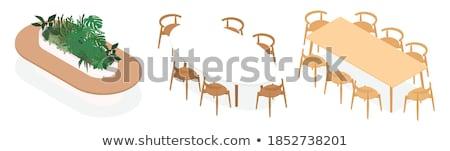 Eettafel stoelen kamer ontwerp home metaal Stockfoto © magraphics