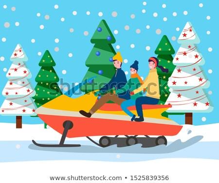 Család utazó szánkó autó erdő vektor Stock fotó © robuart
