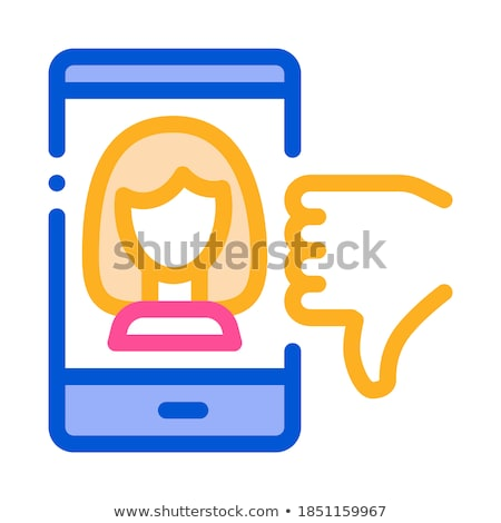 Dislike Avatar Female Icon Vector Outline Illustration Stock photo © pikepicture
