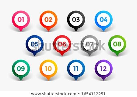 Stijl aantal bullet punten twaalf teken Stockfoto © SArts