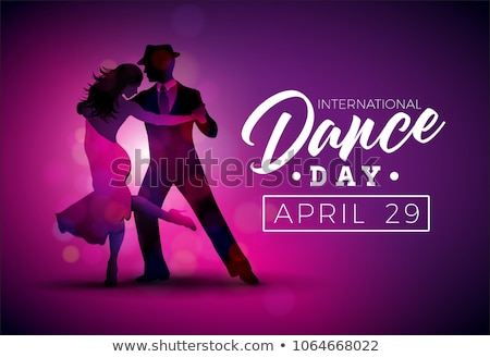 International Dance Day Vector Illustration With Tango Dancing Couple On Shiny Colorful Background Stok fotoğraf © articular