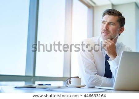 düşünme · iş · adamı · genç · erkek · yürütme · oturma - stok fotoğraf © christinerose81