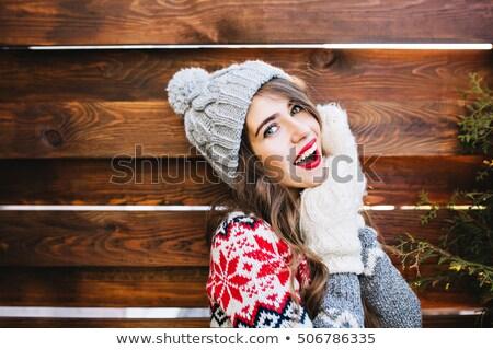 mitaines · écharpe · blanche · table · en · bois · fond · hiver - photo stock © kurhan