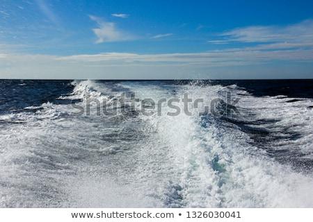 mavi · deniz · okyanus · tekne · yıkamak - stok fotoğraf © witthaya