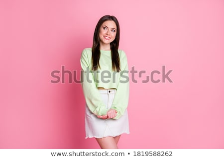 beautiful young model wearing mini and looking shy stock photo © rosipro