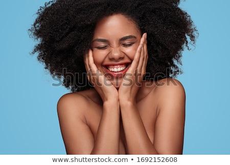 belo · jovem · feliz · mulher · nu · ombros - foto stock © rosipro