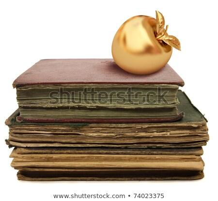 Golden Apfel altes Buch isoliert weiß Essen Stock foto © gavran333