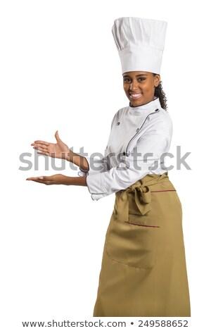 Női szakács láthatatlan termék portré boldog Stock fotó © wavebreak_media