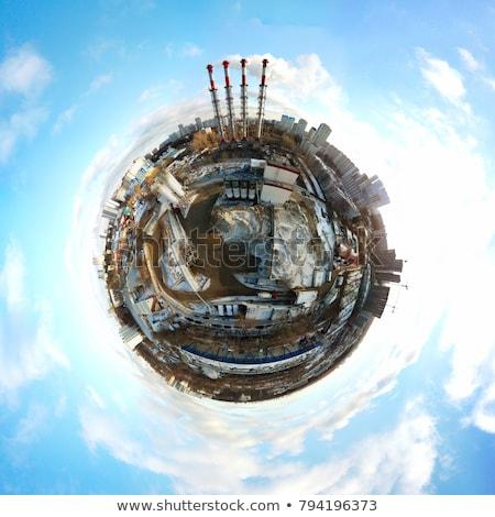 Ville neige monde gratte-ciel pollution Photo stock © albund
