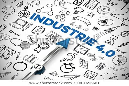 Usługi slogan osoby rysunek wskazując kredy Zdjęcia stock © kbuntu
