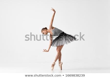 Jonge ballerina poseren geïsoleerd witte vrouw Stockfoto © stepstock