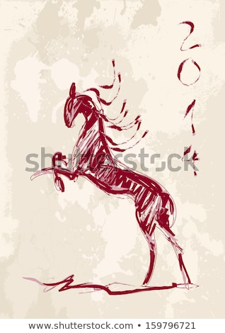 chinese new year of the horse brush style vector file stock photo © cienpies