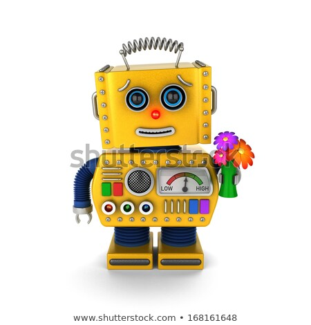 Cute vintage robot sending a get well wish Stock photo © creisinger