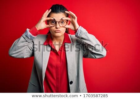 Genç esmer işkadını gözlük yorgun iş Stok fotoğraf © sebastiangauert