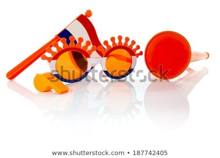Plastik gözlük boynuz flüt bayrak turuncu Stok fotoğraf © compuinfoto