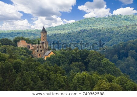 Knight against medieval castle. Stock photo © Nejron