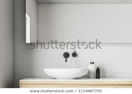 Modernes bain salle de bain fleurs Photo stock © Kurhan