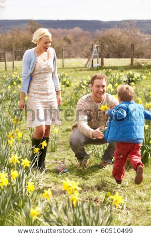 Young Family Walking Amongst Spring Daffodils Stock photo © monkey_business
