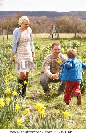 Giovani famiglia piedi primavera narcisi uomo Foto d'archivio © monkey_business