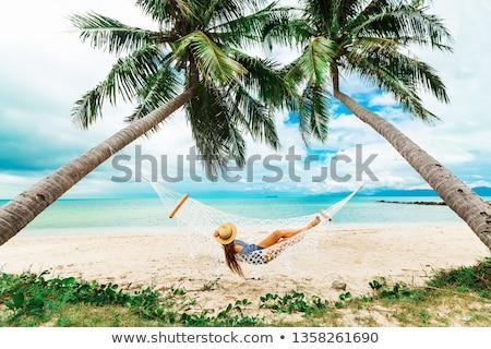 女性 · 熱帯ビーチ · シルエット · ロープ · スイング · 日没 - ストックフォト © kasto