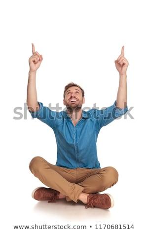 Stock fotó: ülő · férfi · siker · kéz · levegő · szabadtér