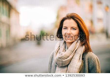 modieus · meisje · leder · poseren · studio · denken - stockfoto © neonshot