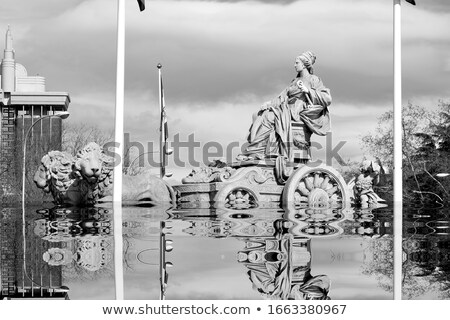 Spain square fountain in black and white Stock photo © rmbarricarte
