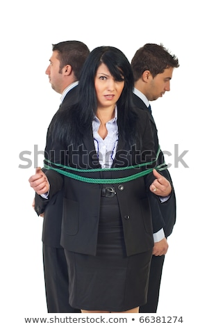 Stock photo: Woman businessman tied up with rope