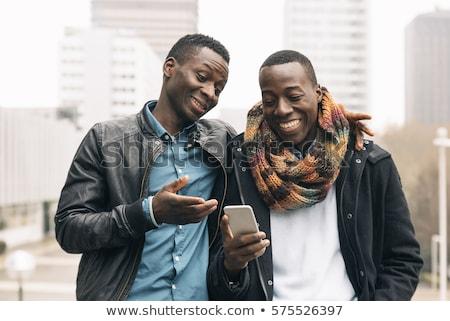 Twee zakenlieden gelukkig zakenman top bar Stockfoto © RAStudio