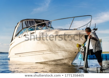 Boat launching into the water Stock photo © jrstock