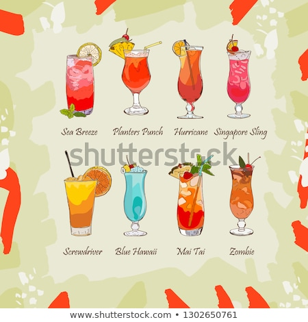 Planter Punch cocktail scetch Stock photo © netkov1